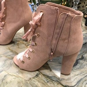 JustFab Shoes - Pink Lace up Faux Suede Block heel Bootie